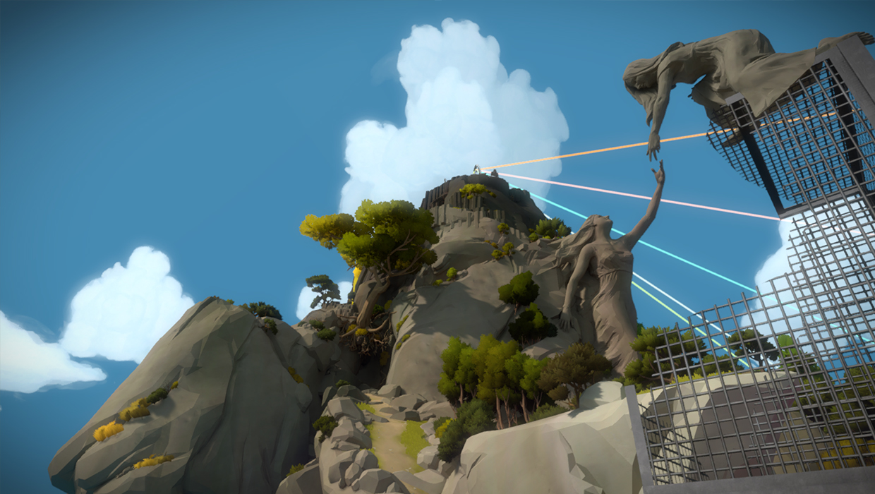The Witness often plays with perspective. Here, two far apart statues appear to be interacting with each other when viewed from a specific angle.