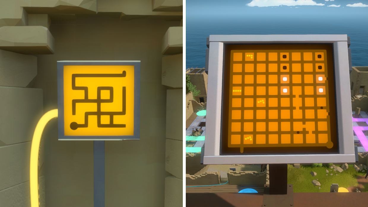 Two Example of the varying complexity of puzzles in The Witness. One very straightforward, the other relying on lessons the game teaches over time.
