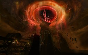 Concept art of an energy tower level in Doom