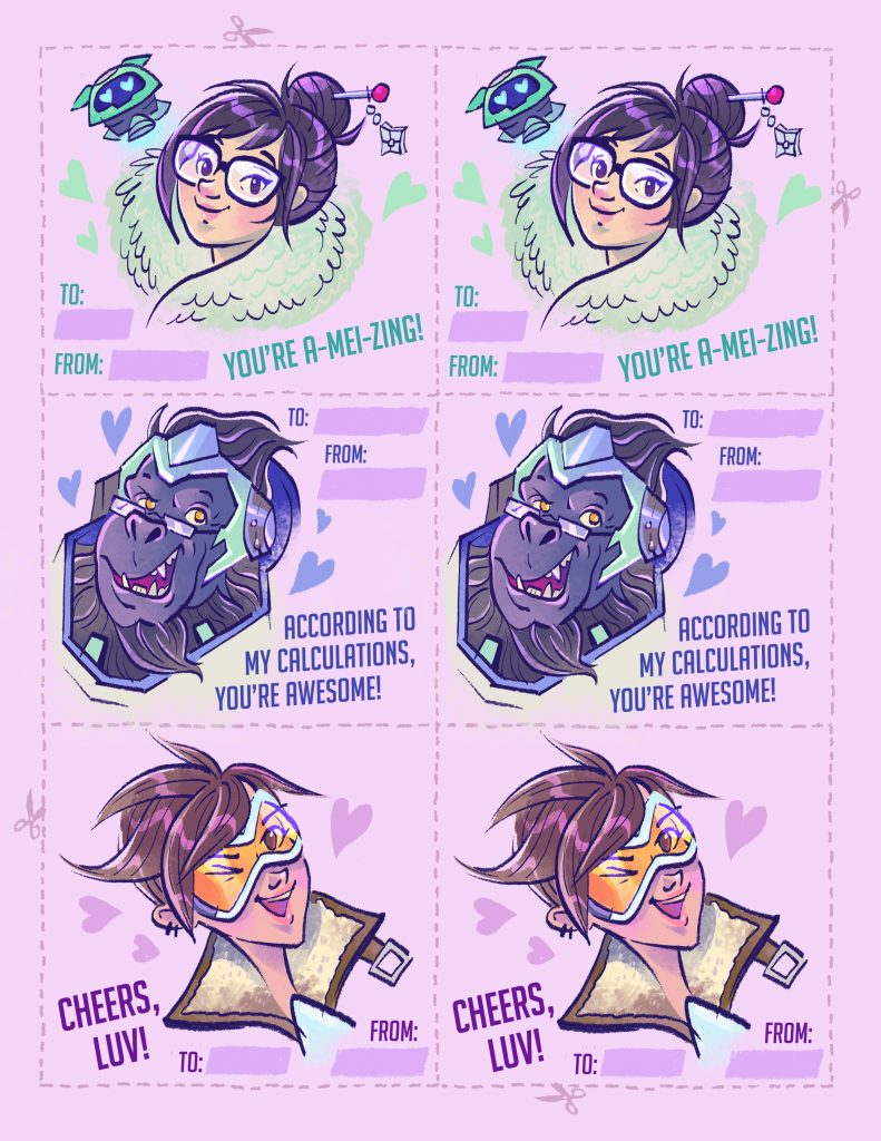 Overwatch Valentines with Mei, Winston, and Tracer