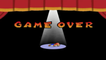 A screenshot of a game over screen in Paper Mario The Thousand Year Door