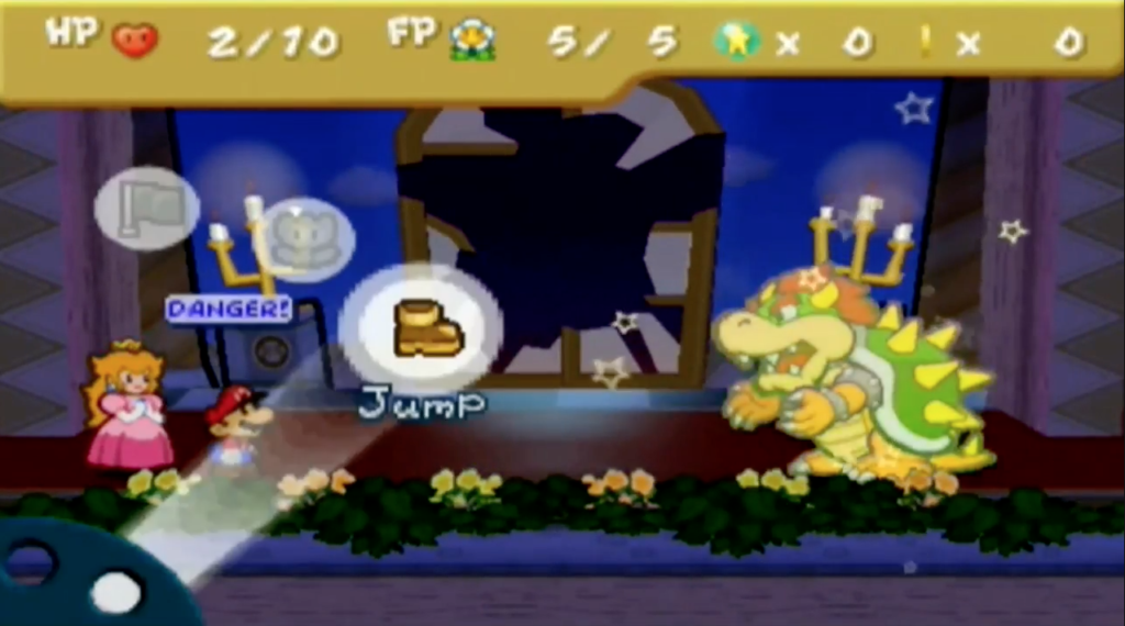 Mario is severely weakened from Bowser's attacks.