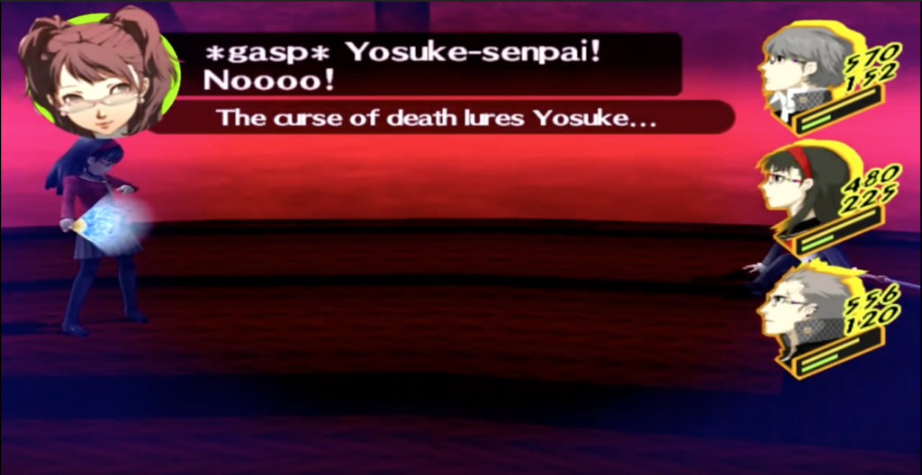 Yosuke, one of the player's party members, succumbs to a OHKO move the boss executed.