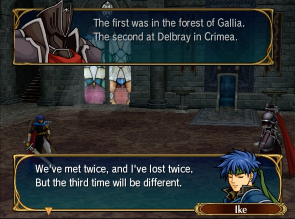 Ike and the Black Knight exchange dialogue.