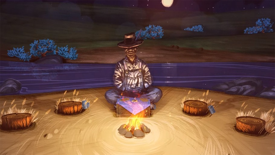 A traveler sits at a campfire to tell stories