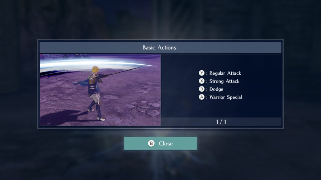 A screenshot of the first help window in the game, displaying 4 buttons to the player with nothing else.