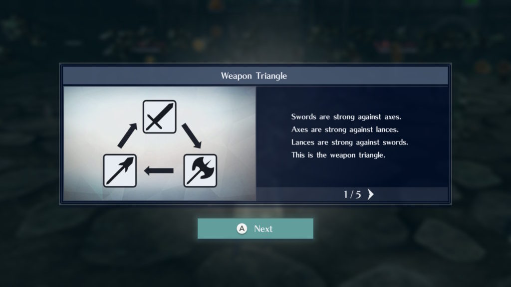 A screenshot of the Weapon Triangle, a Rock-Paper-Scissors battle system.