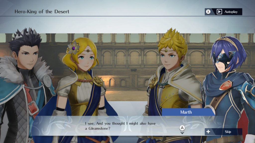 A screenshot of (left to right) Dairos, Lianna, Rowan, and Marth.