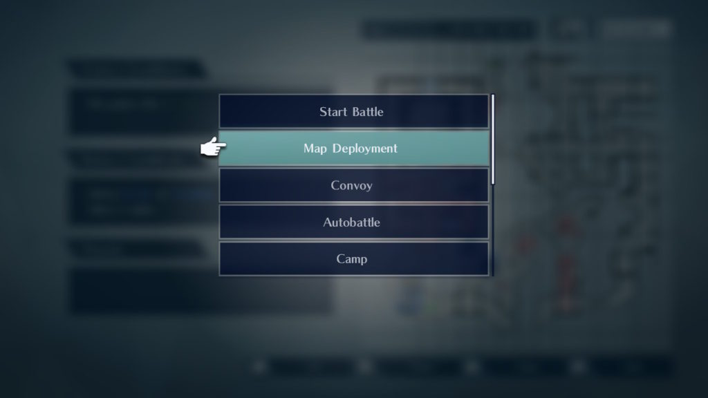 A screenshot of the submenu, displaying options like Start Battle and Map Deployment.