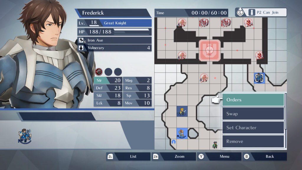 A screenshot of a menu depicting what the player is tasking Frederick to do.