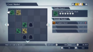 A screenshot of the Crest Menu, viewing an Attack Crest for Rowan.