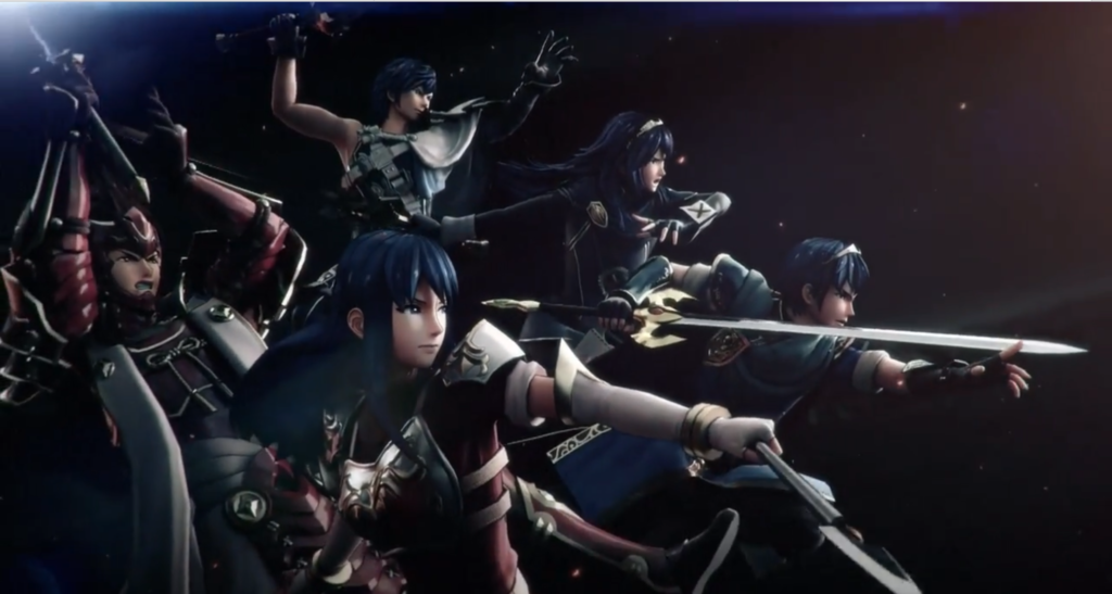 A screenshot of the game's cinematic opening, showing (left to right) Ryoma, Chrom, Caeda, Lucina and Marth.