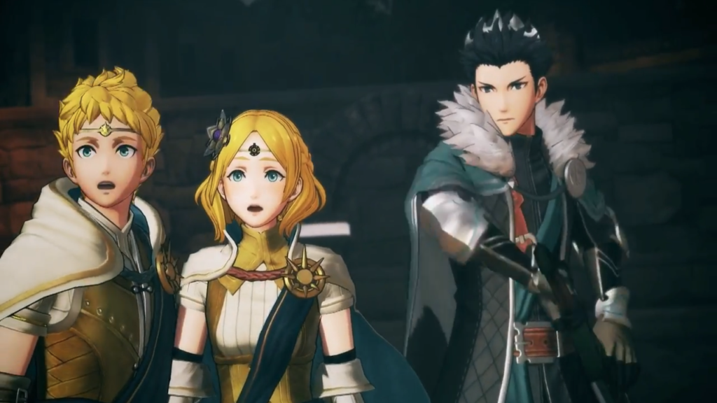 A screenshot of a cutscene with (left to right) Rowan, Lianna, and