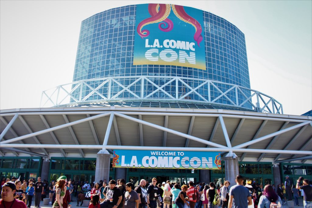 Hundreds of fans outside Los Angeles Convention Center for LA Comic Con 2018.