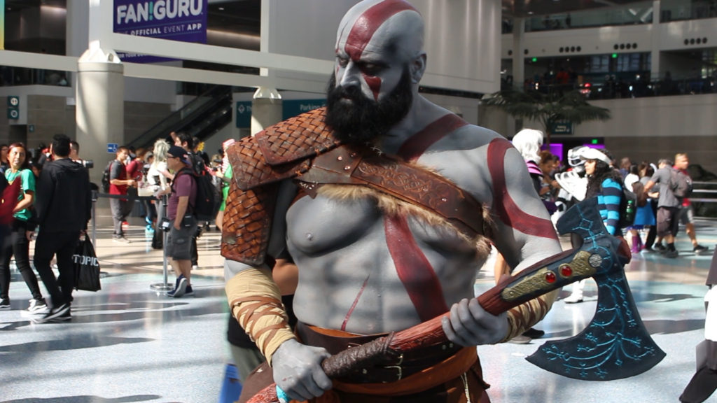 Kratos from the 2018 God of War game cosplay at LA Comic Con 2018.