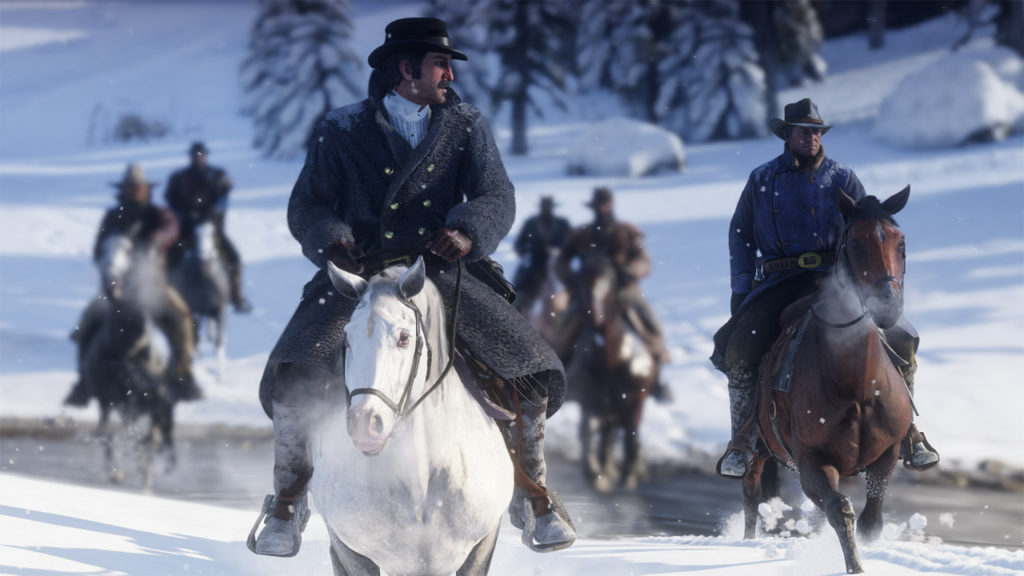 The Dutch van der Linde gang riding in the snowy mountains of Red Dead Redemption 2